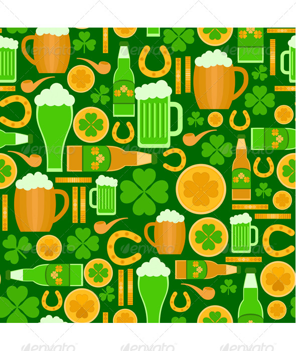 GraphicRiver Seamless Pattern of Saint Patrick s Day Objects 8664031