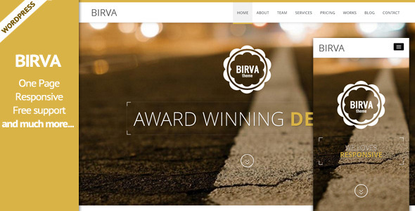 BIRVA3 - Responsive Multipurpose One Page WP Theme