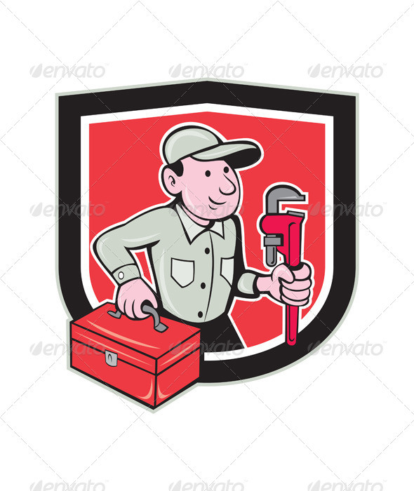 GraphicRiver Plumber Toolbox Monkey Wrench Shield Cartoon 8664042