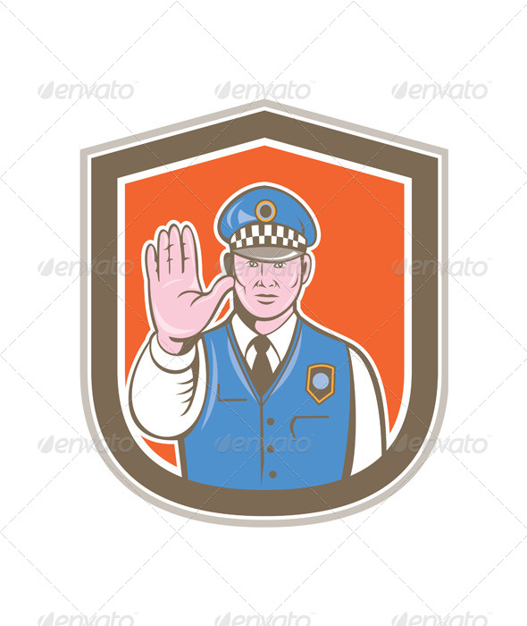 GraphicRiver Traffic Policeman Hand Stop Sign Shield Cartoon 8664064
