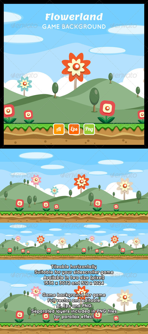 GraphicRiver Flowerland Game Background 8664069