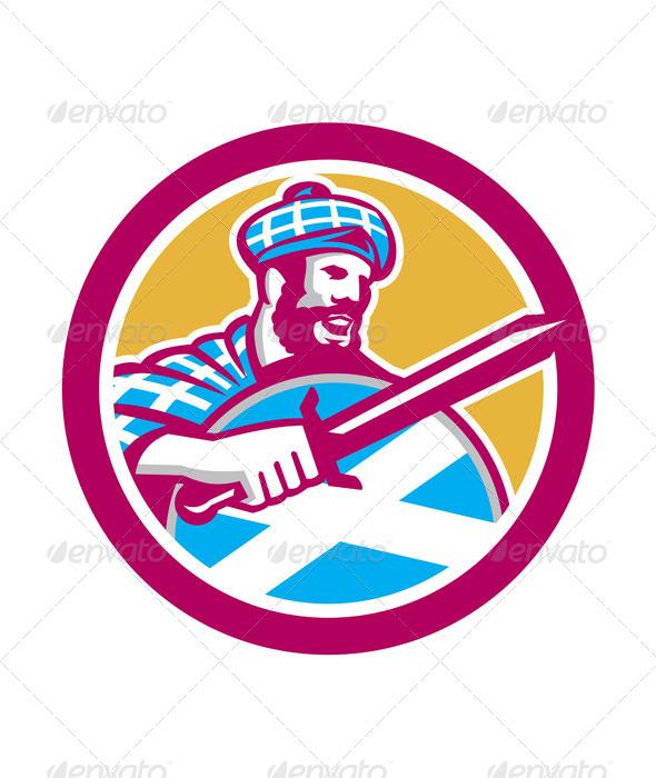 GraphicRiver Highlander Scotsman Sword Shield Circle Retro 8664071