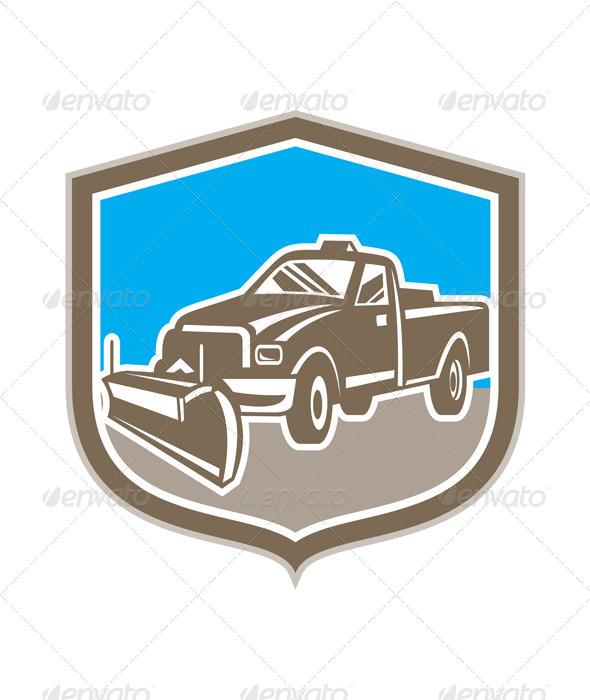 GraphicRiver Snow Plow Truck Shield Retro 8664090
