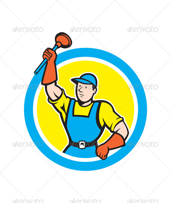 GraphicRiver Super Plumber with Plunger Circle Cartoon 8664093