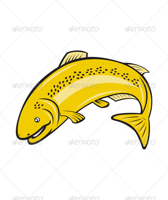 GraphicRiver Trout Rainbow Fish Jumping Cartoon 8664096