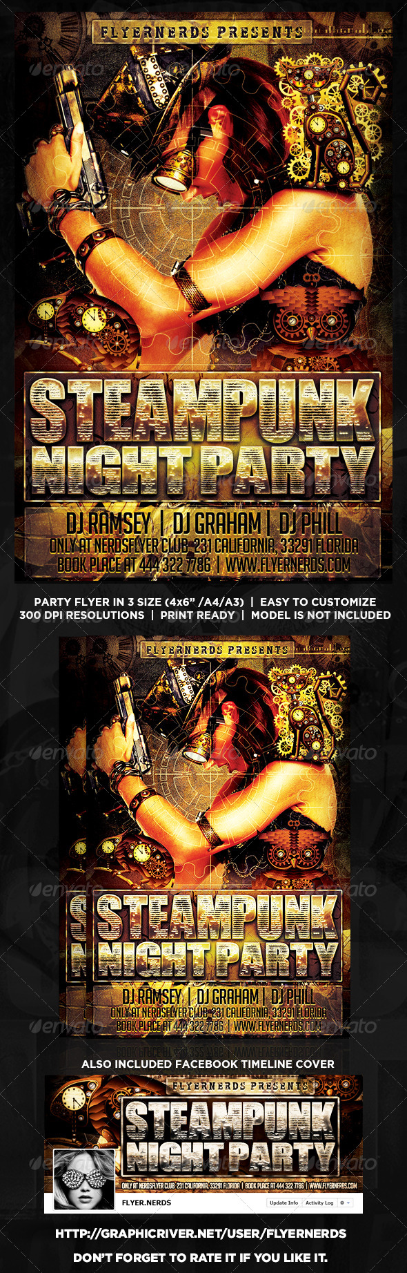 GraphicRiver Steampunk Party Flyer 8664106