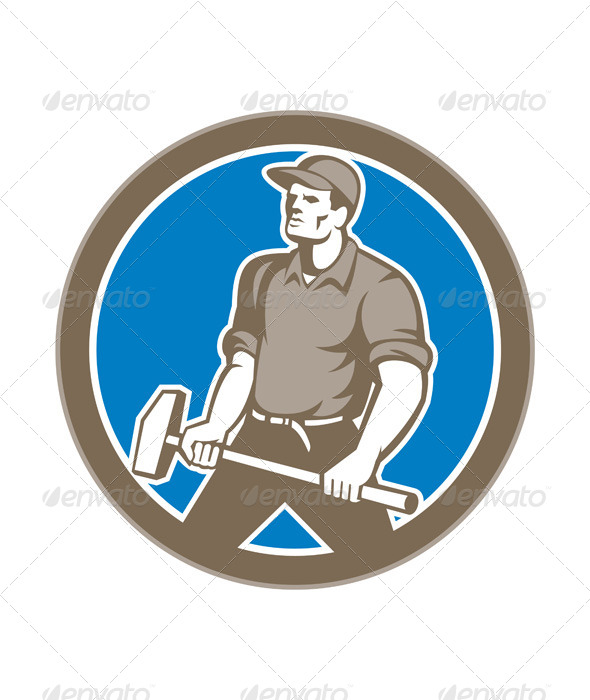 GraphicRiver Union Worker with Sledgehammer 8664107