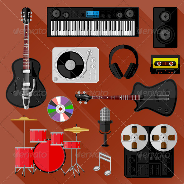 GraphicRiver Set of Music and Sound Objects Flat Design 8664238
