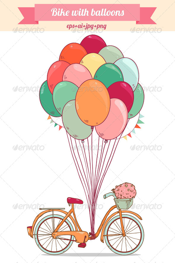 GraphicRiver Bike with Bright Balloons 8664262