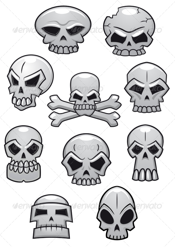 GraphicRiver Cartoon Halloween Skulls 8664300