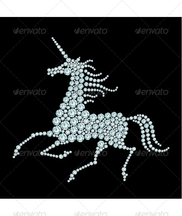GraphicRiver Running Unicorn Diamond Composition 8664470