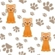 Seamless Pattern with Cartoon Cat and Paws - GraphicRiver Item for Sale