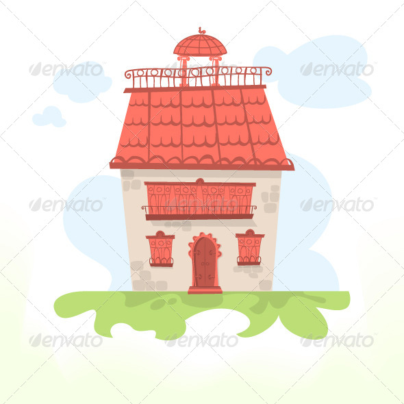 GraphicRiver Fairy House with a Tiled Roof and a Cockerel 8666546