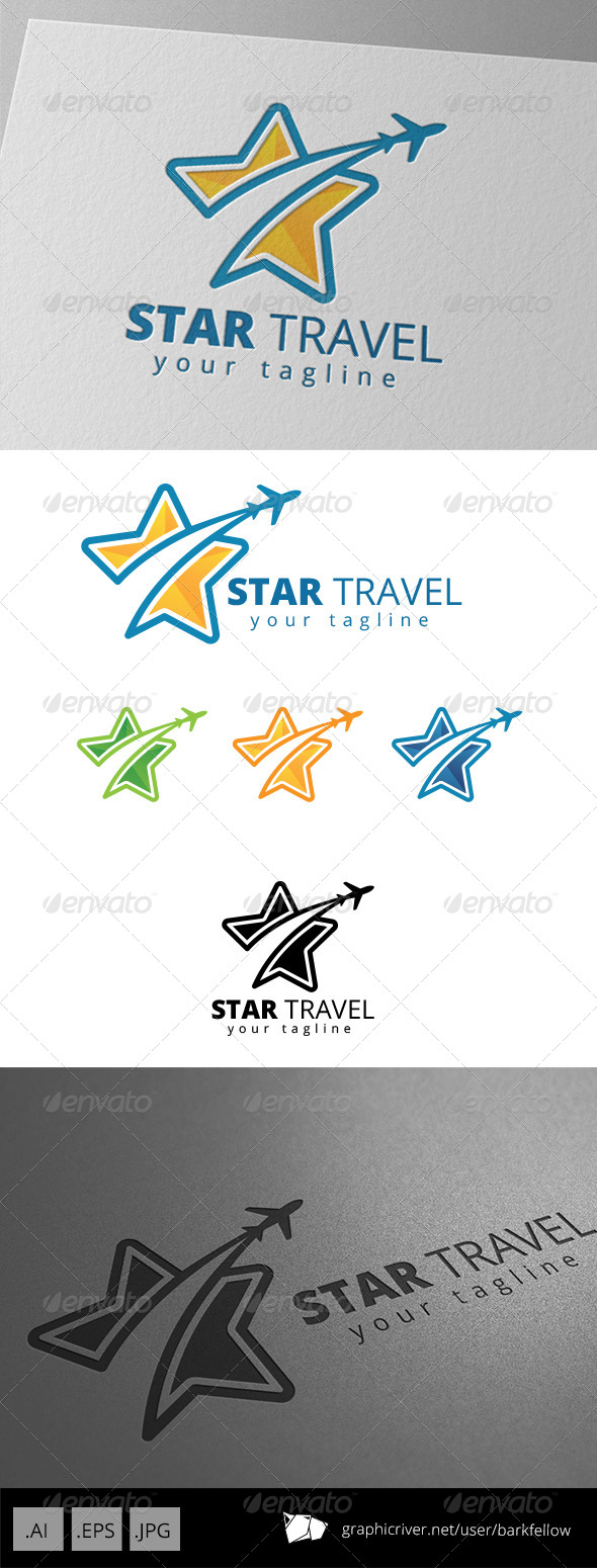GraphicRiver Star Plane Travel Agent Logo 8669127