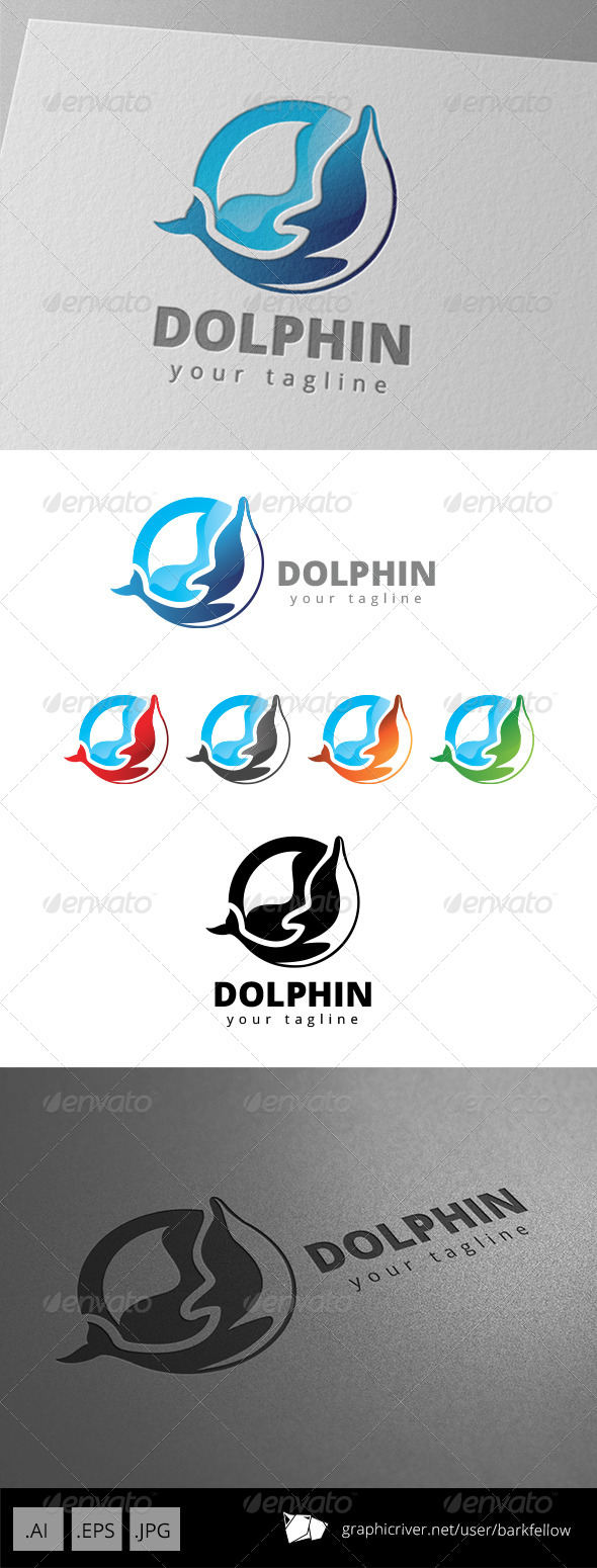 GraphicRiver Blue Dolphin Sea Water Sport Logo 8674193