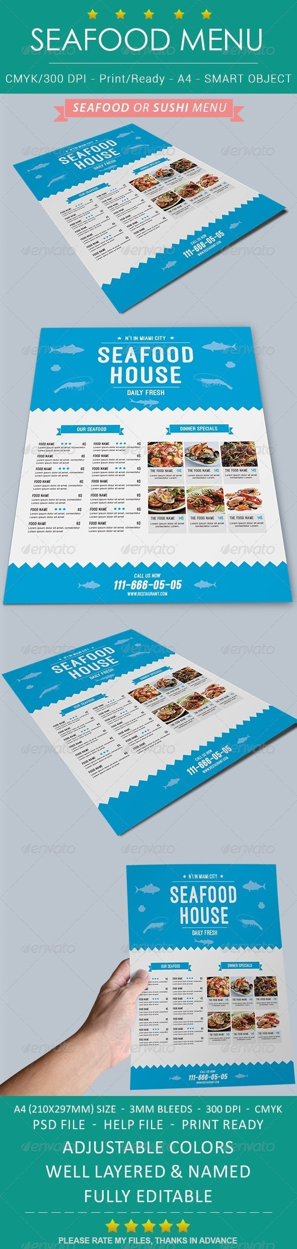 GraphicRiver Seafood Restaurant Menu Flyer 8674922