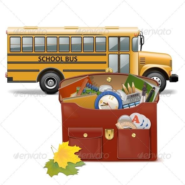 GraphicRiver Schoolbag and Bus 8675904