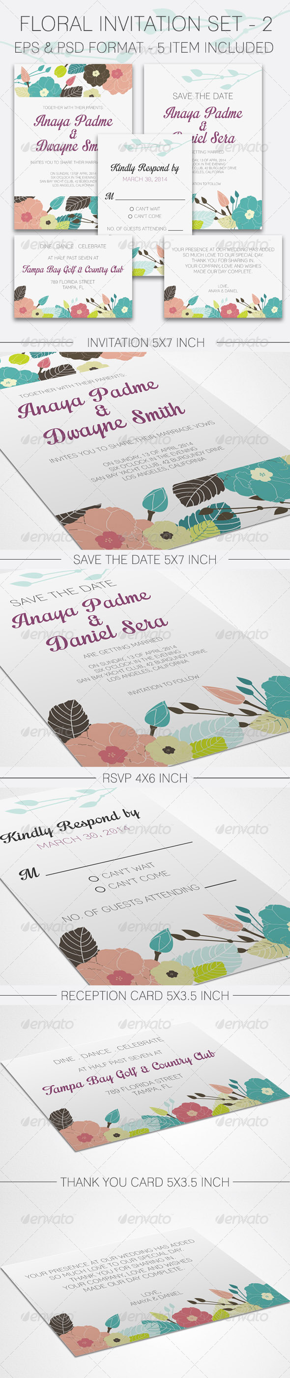 GraphicRiver Floral Wedding Invitation Set 2 8675970