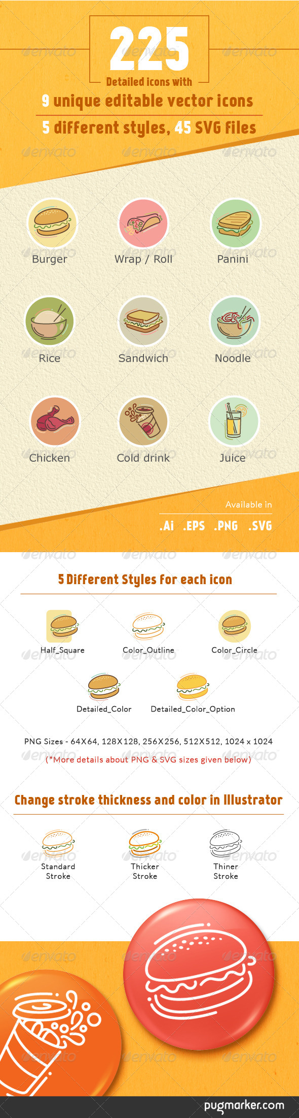 GraphicRiver Stylish Food Icons 8676039 Created: