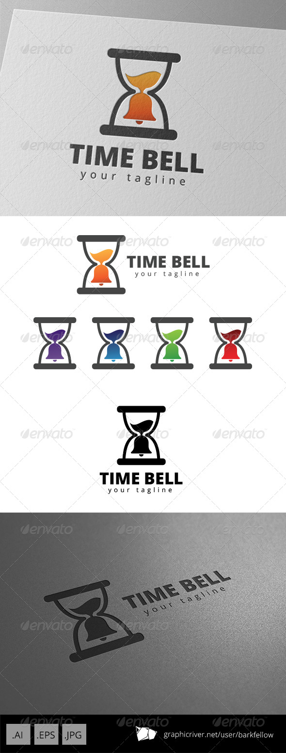 GraphicRiver Hourglass Time Bell Alarm Logo 8676050
