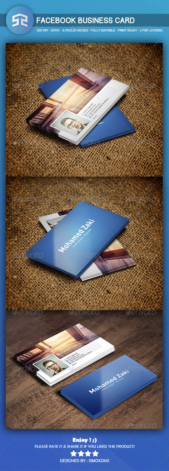 GraphicRiver Professional Facebook Business card 8657302