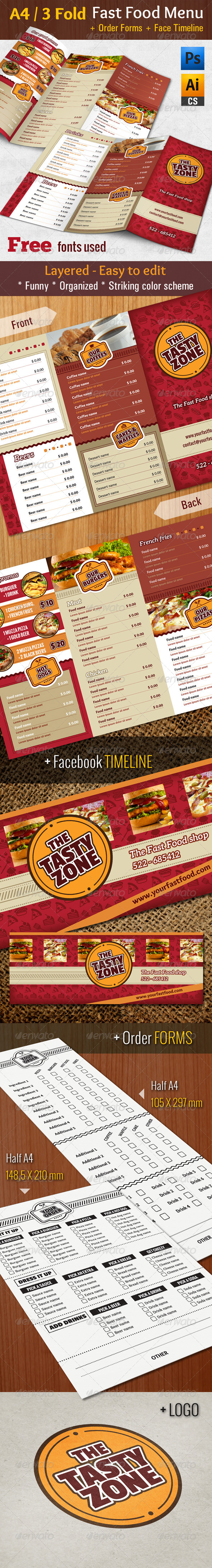 GraphicRiver 3 Fold Fast Food Menu & Timeline & Order Forms 8676211