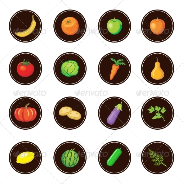 GraphicRiver Fruits and Vegetables Set of Icons 8676264