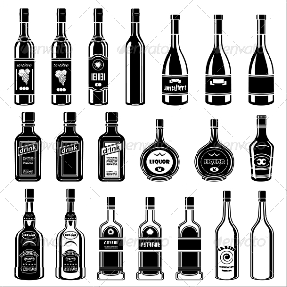GraphicRiver Set of Alcohol Bottles 8676307