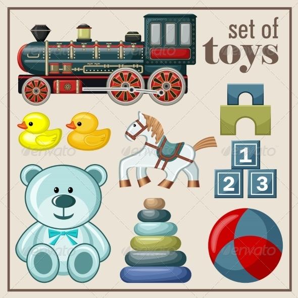 GraphicRiver Set of Vintage Toys 8676312
