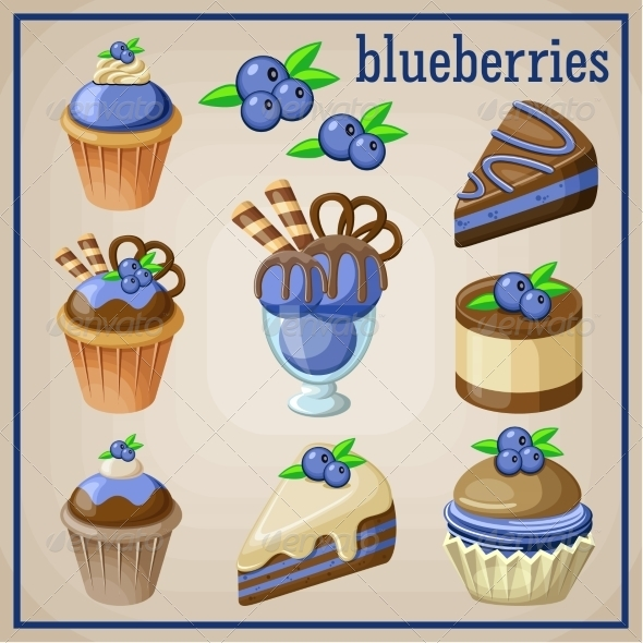 GraphicRiver Set of Sweets with Blueberries 8676333