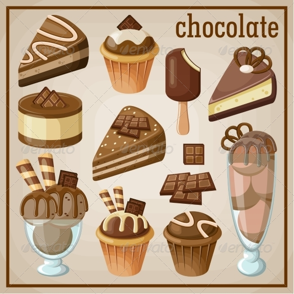 GraphicRiver Set of Sweets and Chocolate 8676341