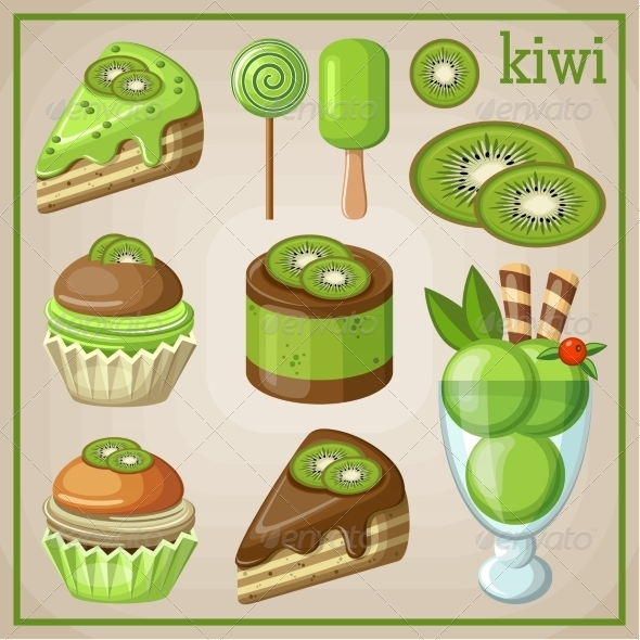 GraphicRiver Set of Sweets with Kiwi 8676359