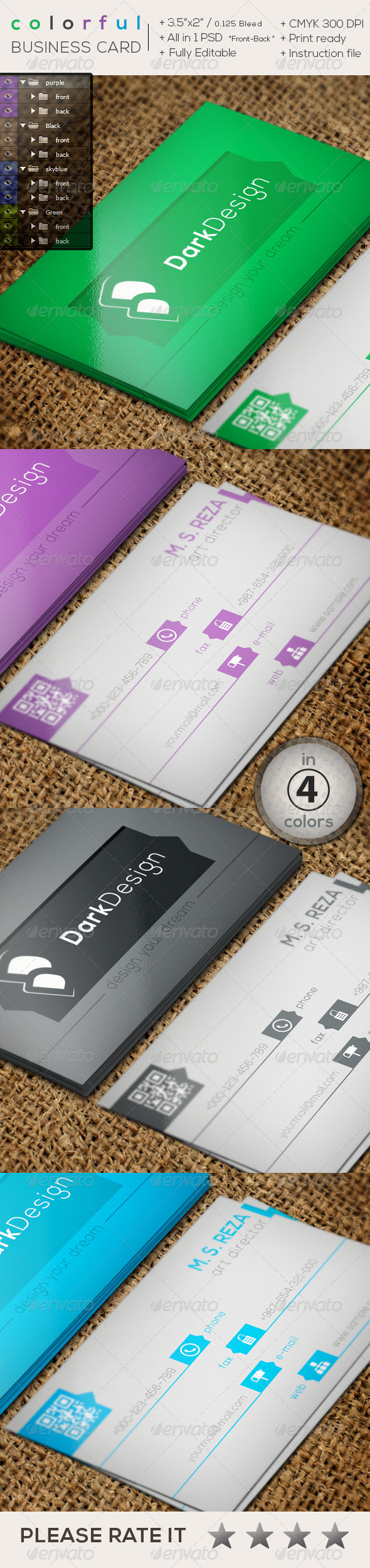 GraphicRiver Colorful Creative Business Card 8598002