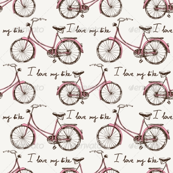 GraphicRiver Seamless with Hand Drawn Bicycles 8676498