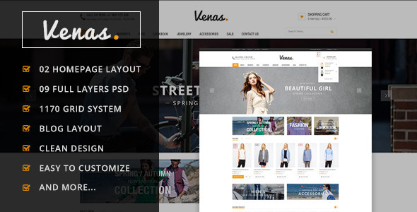 ThemeForest Venas Ecommerce PSD Template 8676567