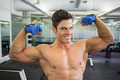 Close up portrait of a shirtless muscular man flexing muscles in gym
