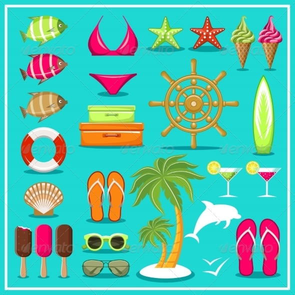 GraphicRiver Summer Beach Set 8676617