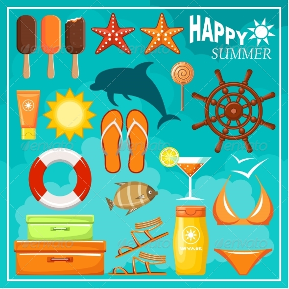 GraphicRiver Summer Beach Set 8676641