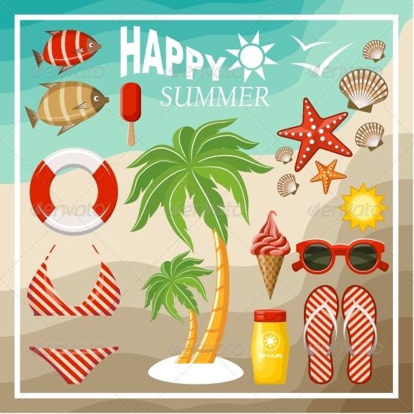 GraphicRiver Summer Beach Set 8676646
