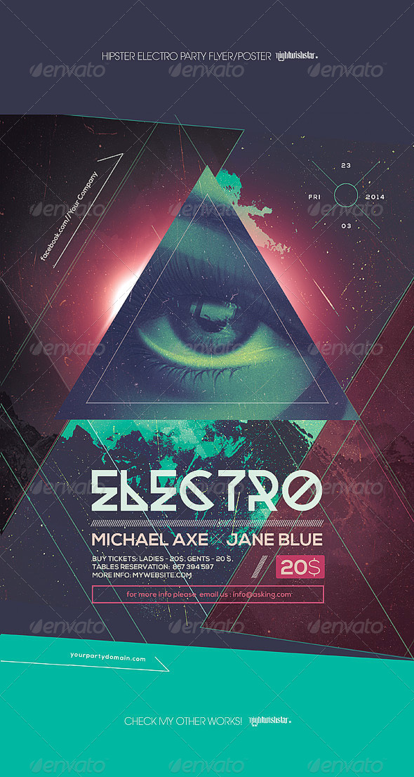 GraphicRiver Hipster Electro Party Poster 8676651