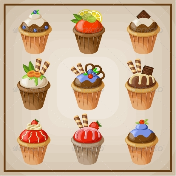 GraphicRiver Set of Cupcakes 8676672