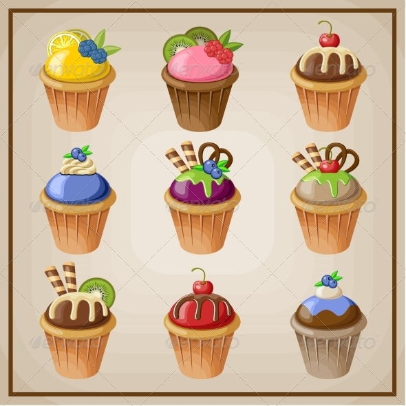 GraphicRiver Set of Cupcakes 8676673