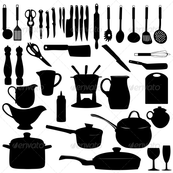 GraphicRiver Kitchen Tools Silhouettes 8676823