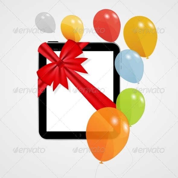 GraphicRiver Digital Tablet Gift with Balloons 8676850