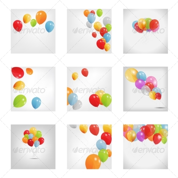 GraphicRiver Set of Colored Balloons 8676868