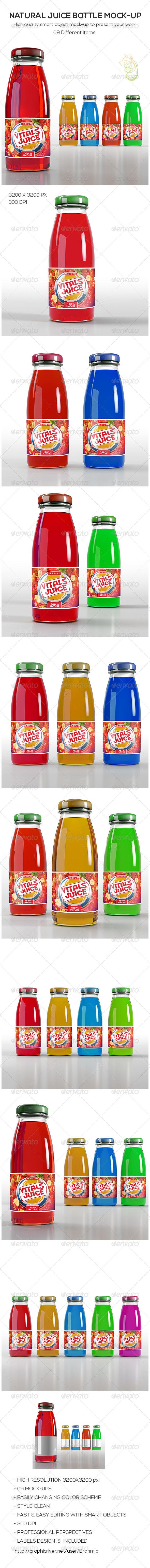 GraphicRiver Natural Juice Bottle Mock-Up 8676986