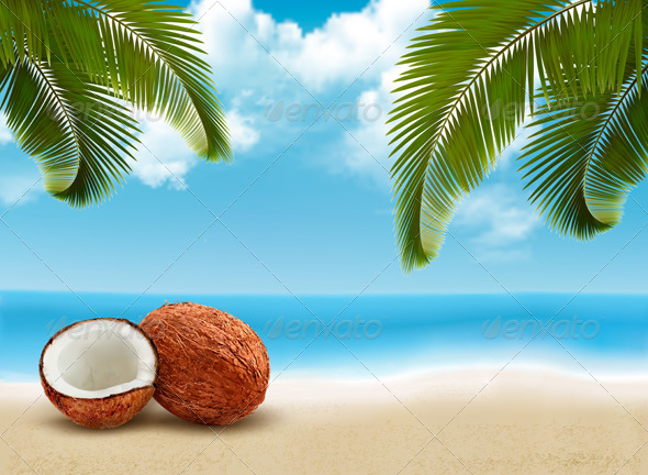 GraphicRiver Coconut with palm leaves 8676999