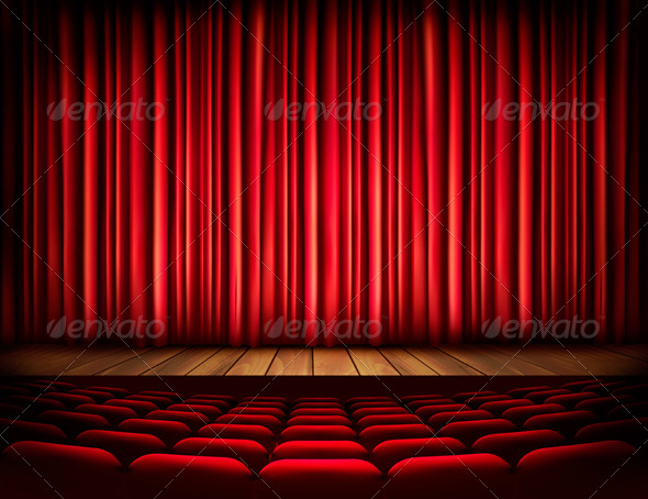 GraphicRiver A Theater Stage with a Red Curtain Seats 8677003