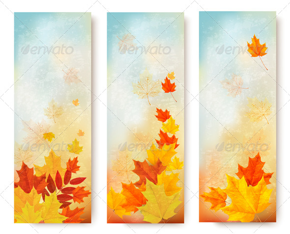 GraphicRiver Three Abstract Autumn Banners with Color Leaves 8677081