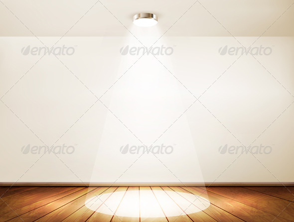 GraphicRiver Wall with a spotlight and wooden floor 8677089